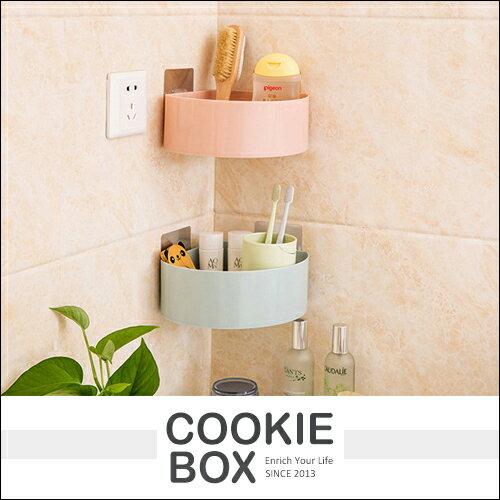 素色 塑膠 三角架 置物架 (隨機出貨) 收納架 收納盒 置物盒 無痕貼 牆角 居家 浴室 *餅乾盒子*