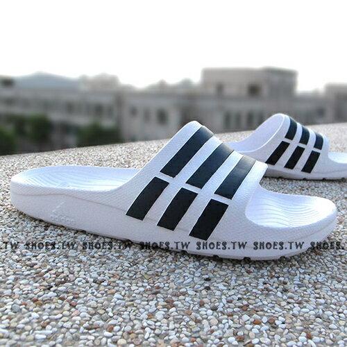 Shoestw【F32892】ADIDAS DURAMO SLIDE 拖鞋 一體成型 白黑線條 男女都有