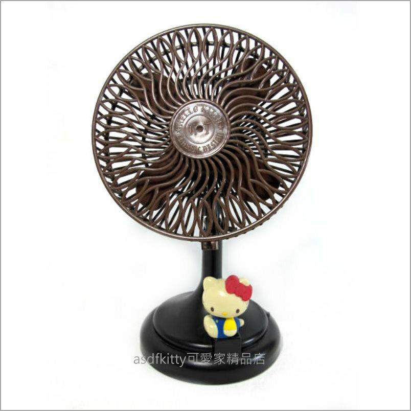 asdfkitty可愛家☆二手商品出清-KITTY側坐電池式桌上型電風扇-日本正版商品