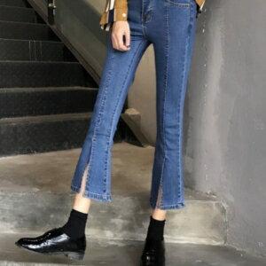 美麗大街【KA46】 韓國東大門百搭褲腿開叉牛仔褲女高腰修身顯瘦微喇叭九分褲