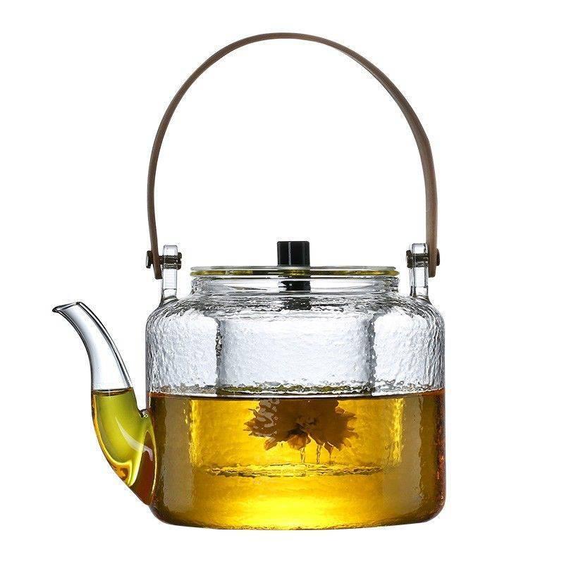 耐高溫錘紋玻璃煮茶壺家用電陶爐透明玻璃蒸茶煮茶燒水壺