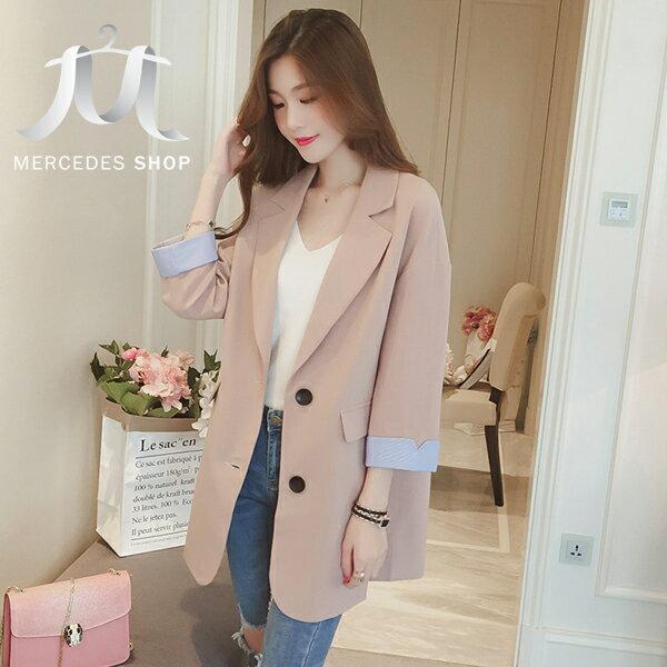 《全店75折》韓國撞色反摺袖西裝外套(S-XL,3色)-梅西蒂絲(現貨+預購)