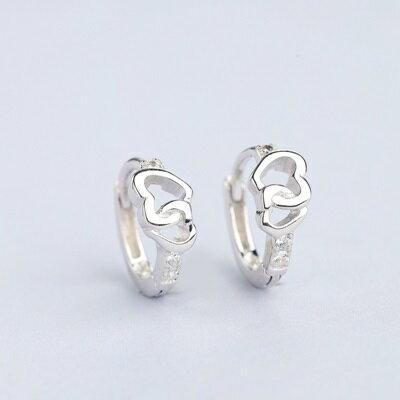 【米蘭秀】【奇珍館】:925純銀耳環鋯石耳扣-鏤空雙心百搭時尚女飾品73ql21【獨家進口】【米蘭精品】