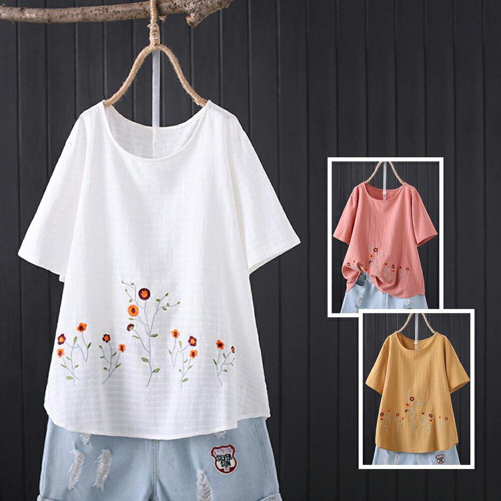 純棉提花布刺繡圓領休閒寬鬆短袖t恤(3色XL~4XL)【OREAD】 1