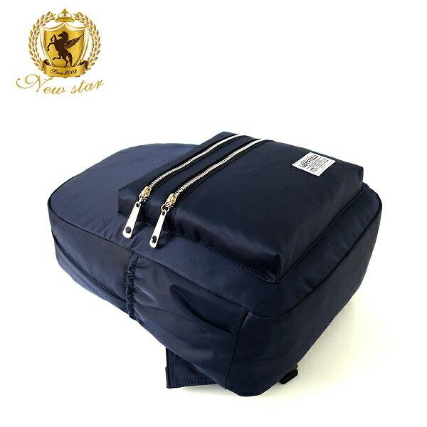 日系簡約防水撞色拉鍊口袋後背包包 NEW STAR BK242 4