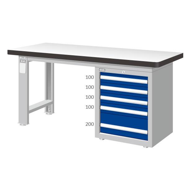 五層抽屜4+1工作桌 耐磨桌板 辦公桌 書桌 長度1500/1800/2100mm三種尺寸選擇【可力爾】 0