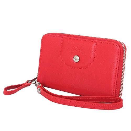 【LONGCHAMP】 Le Pliage Cuir系列小羊皮手拿/零錢包(紅)【全店免運】 1