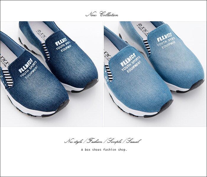 格子舖*【ASB-85】*限時免運* 簡約刷白牛仔帆布小星星 鬆緊穿拖 厚底增高3.5cm帆布鞋 懶人鞋 2色 1