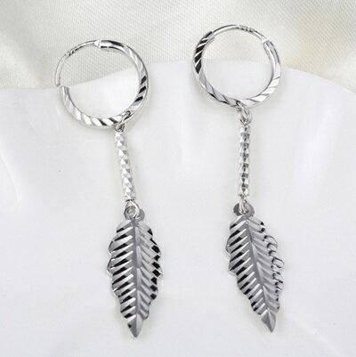 ~純銀耳環~ 925純銀耳針式耳飾~異國風垂吊式葉子 母親節生日情人節 女飾品73ac11