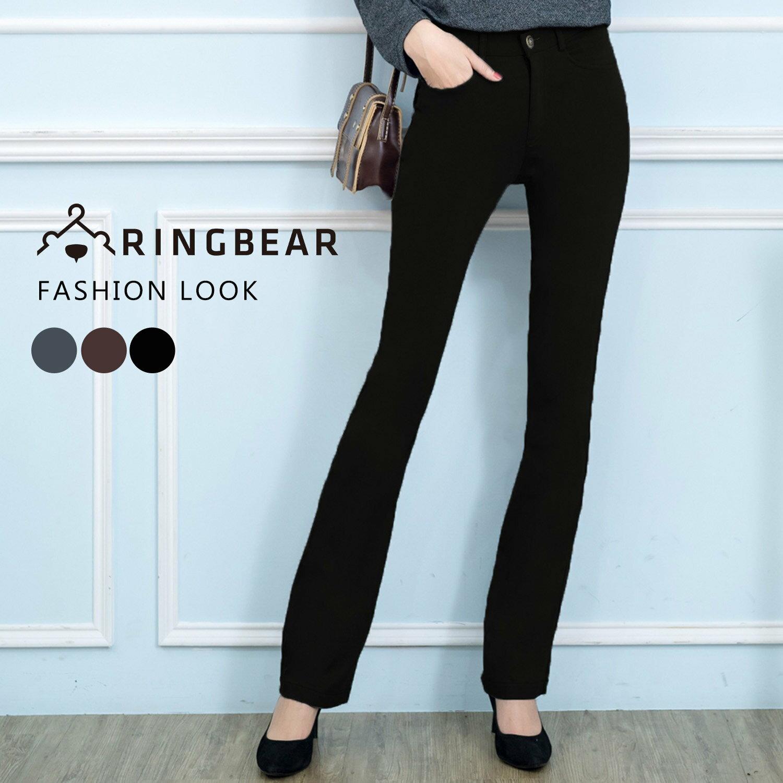 西裝褲--修長OL超彈性中腰修飾顯瘦素面微喇叭氣質長褲(黑.灰.咖S-7L)-P17眼圈熊中大尺碼 2