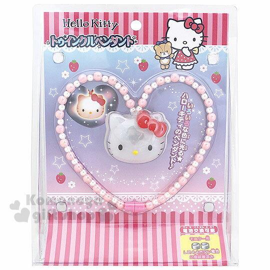 〔小禮堂〕Hello Kitty LED項鍊玩具《粉.大臉.泡殼盒裝》增加親子互動
