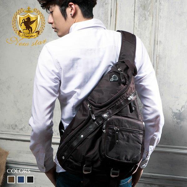 斜背包 質感配皮側背包後背包單肩背包 NEW STAR BK27 0