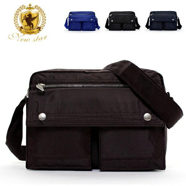 日系雙口袋雙層側背包 (休閒 斜背包 porter風 NEW STAR BL49 7