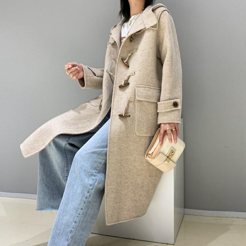 毛呢大衣羊毛外套-牛角扣經典連帽長版女外套2色73wb30【獨家進口】【米蘭精品】 2