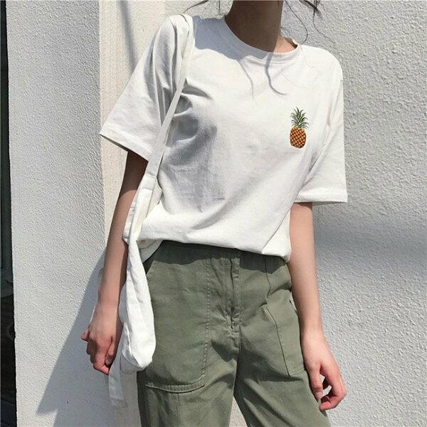 T恤水果刺繡百搭學院風短袖T恤上衣【MYH288】BOBI0621