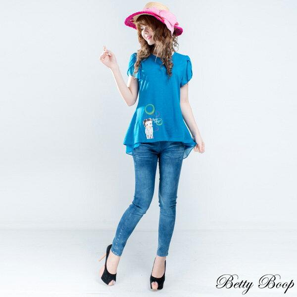 上衣 Betty Boop 雪紡花苞袖傘擺長版上衣 1