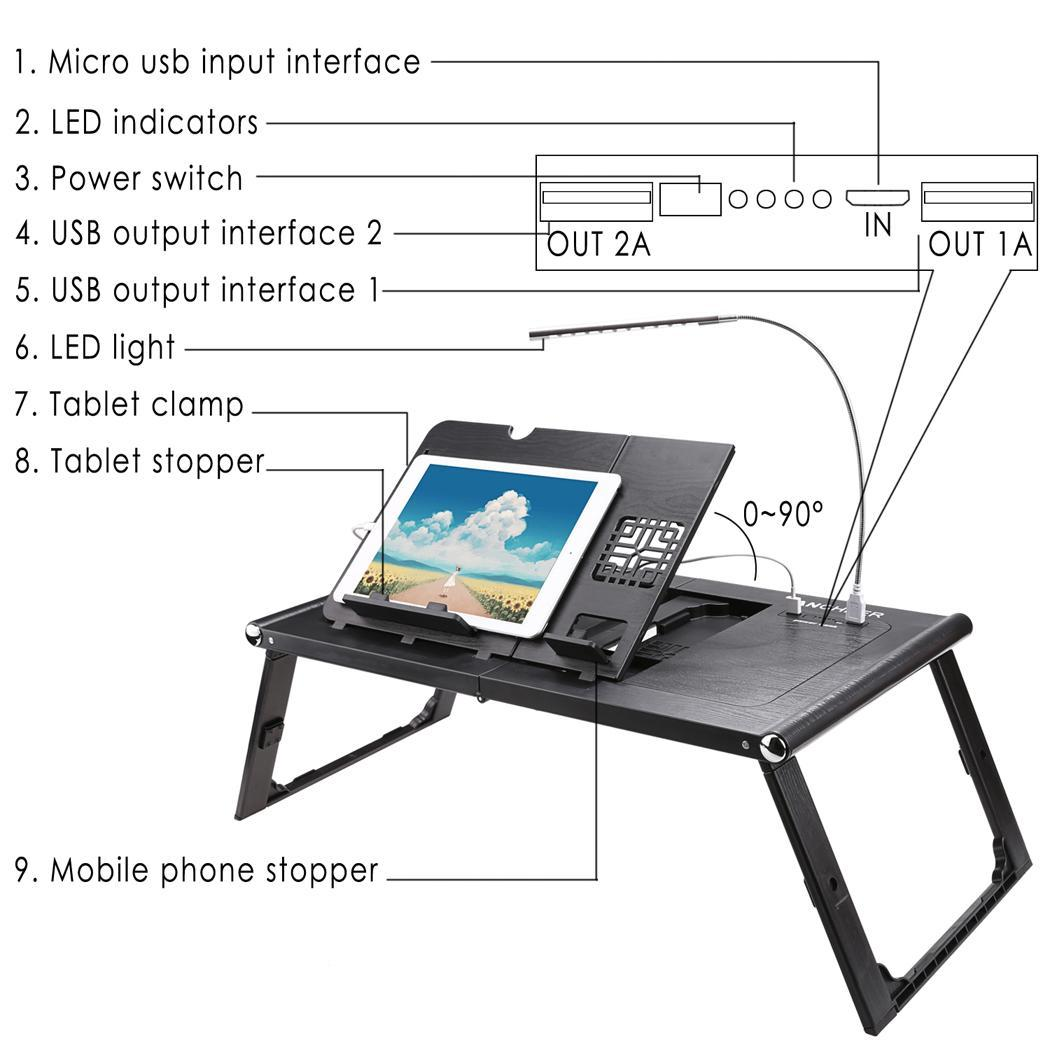 Universal 13inch Laptop Pad Folding Table with Power Bank 10000mAh 1