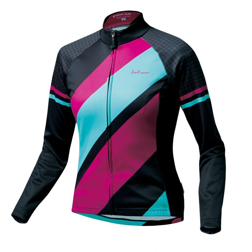【7號公園自行車】PEARL IZUMI W7455-BL-18 15度女性冬季保暖長袖車衣(黑/紫藍)