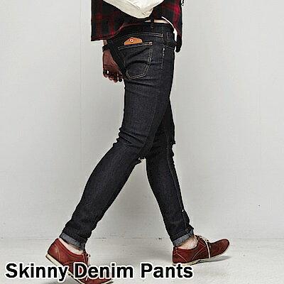 DITION 窄管牛仔褲 原色DENIM微刷破口袋皮革 彈力 合身 2