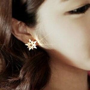美麗大街【GE0356】水晶鑽石雙色五角星耳釘時尚耳飾