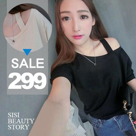 SiSi Girl:SISI【T5022】率性小性感寬鬆露肩一字領斜單邊肩帶百搭短袖上衣寬版棉T罩衫