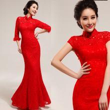 天使嫁衣【AE1929】紅色復古蕾絲旗袍領中袖毛邊修身長禮服˙下架