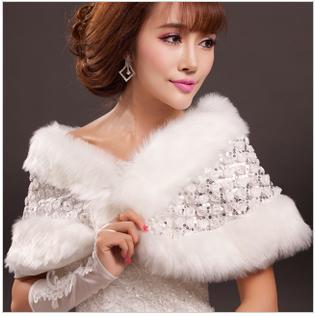 天使嫁衣【AE2235】白色亮片花網暗扣式毛披肩˙預購訂製款