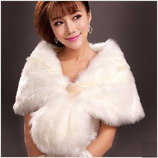 天使嫁衣【AE2239】白色高貴保暖毛披肩˙預購訂製款