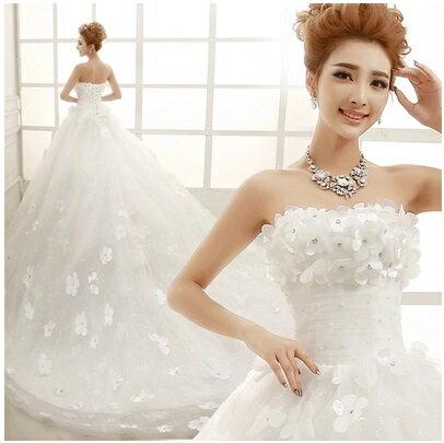 天使嫁衣【AE1819】立體花片完美腰身長拖尾婚紗禮服˙預購訂製款