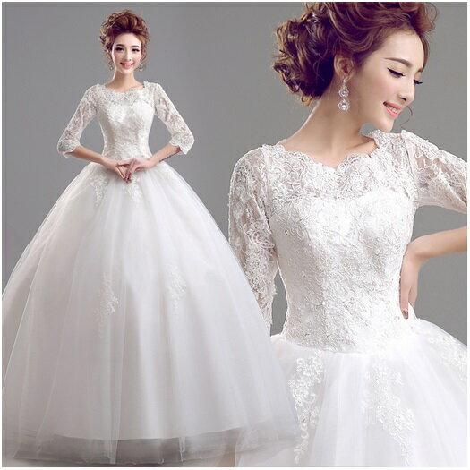 天使嫁衣【AE2211】優雅蕾絲7分袖齊地婚紗禮服˙預購訂製款