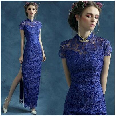 天使嫁衣【AE287】藍色全蕾絲小包袖側邊開叉旗袍長禮服˙下架