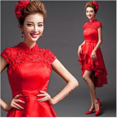 天使嫁衣【AE6722】紅色旗袍領前短後長造型禮服˙預購訂製款