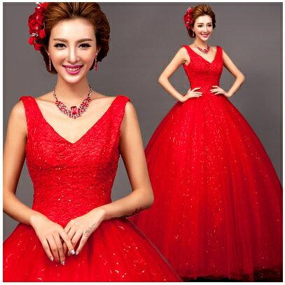 天使嫁衣【AE7310】紅色深V領蕾絲吊帶齊地婚紗禮服˙預購訂製款