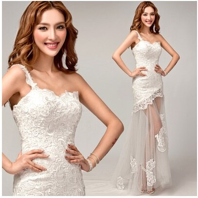 天使嫁衣~AE8279~單肩蕾絲修身包臀下擺透視拖尾婚紗禮服˙ 訂製款