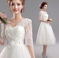 時尚洋裝 小禮服推薦到天使嫁衣【AE9210】白色蕾絲中袖過膝款高雅禮服˙預購訂製款
