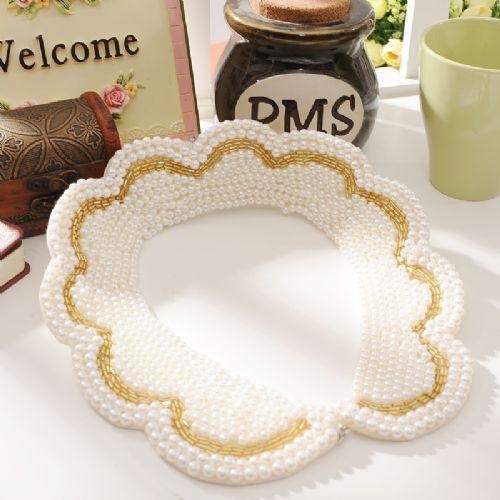 天使嫁衣【B5142】白色波浪形金邊珍珠裝飾領子˙現貨特價出清