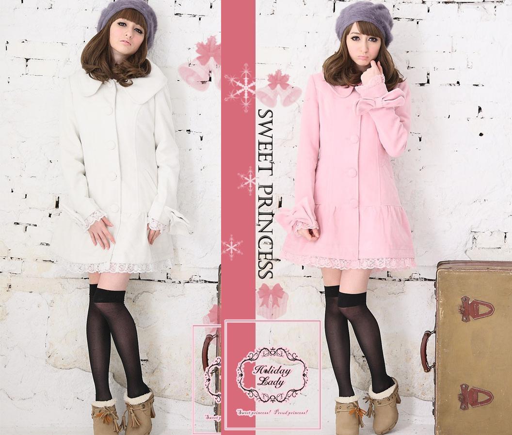 天使嫁衣【HL1035】2色中大尺碼粉領名媛長大衣外套˙預購訂製款