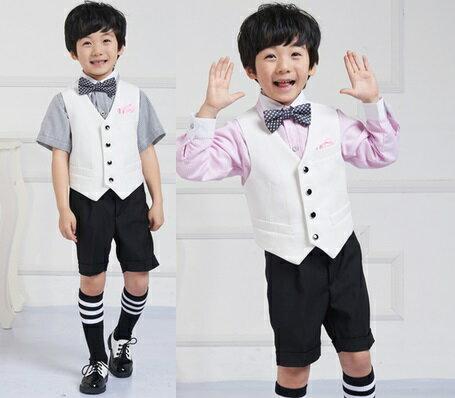 天使嫁衣~童T971短~男童西服白馬甲黑中褲短袖襯衫附領結˙ 訂制款