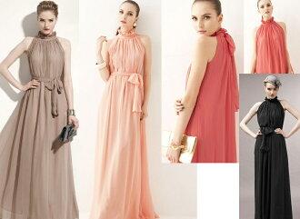 天使嫁衣【EL15333】粉色Kahki歐美特色花邊領系結束腰長洋裝禮服-售出