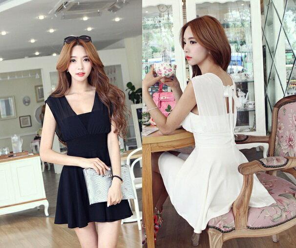 天使嫁衣【EL18901】黑色性感裹胸修腰顯瘦洋裝小禮服˙下架