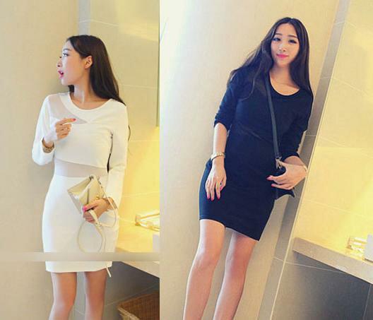 天使嫁衣~EL20311~白色F碼長袖腰間網紗一字拼接修身顯瘦包臀洋裝˙庫存