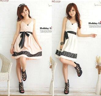 天使嫁衣【HL2231】2色中大尺碼氣質吊帶蕾絲裝飾裙擺洋裝小禮服-預購訂製款