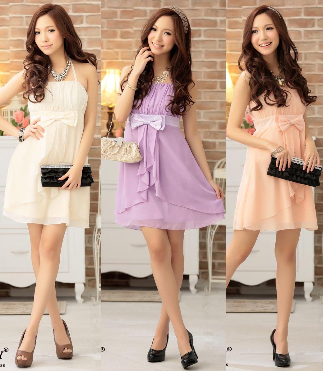 天使嫁衣【HL2302】2色中大尺碼抓皺美胸腰間蝴蝶結造型洋裝小禮服˙預購訂製款