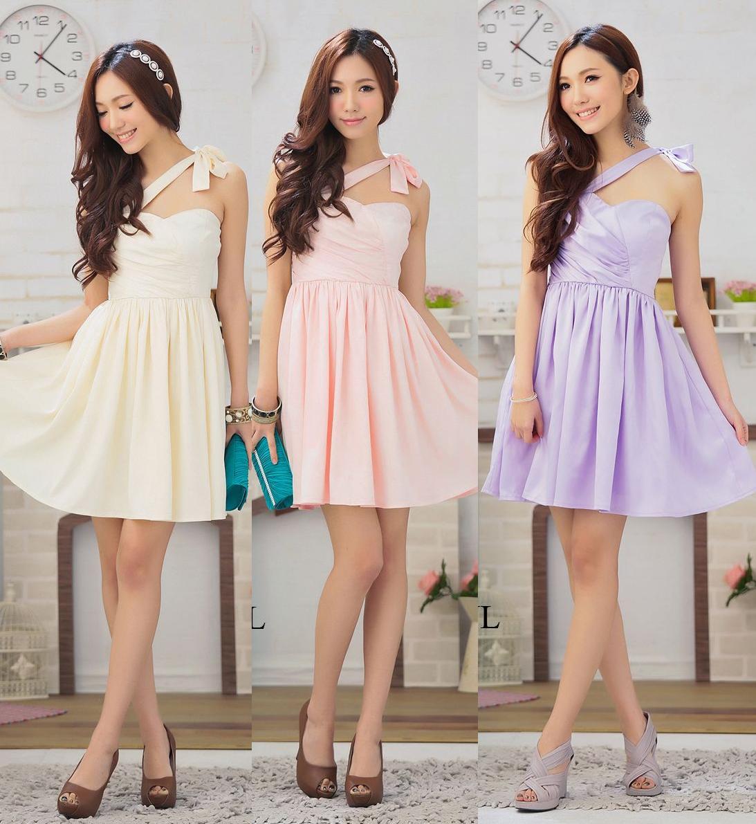 天使嫁衣【HL2308】3色中大尺碼斜綁肩造型洋裝小禮服˙預購訂製款