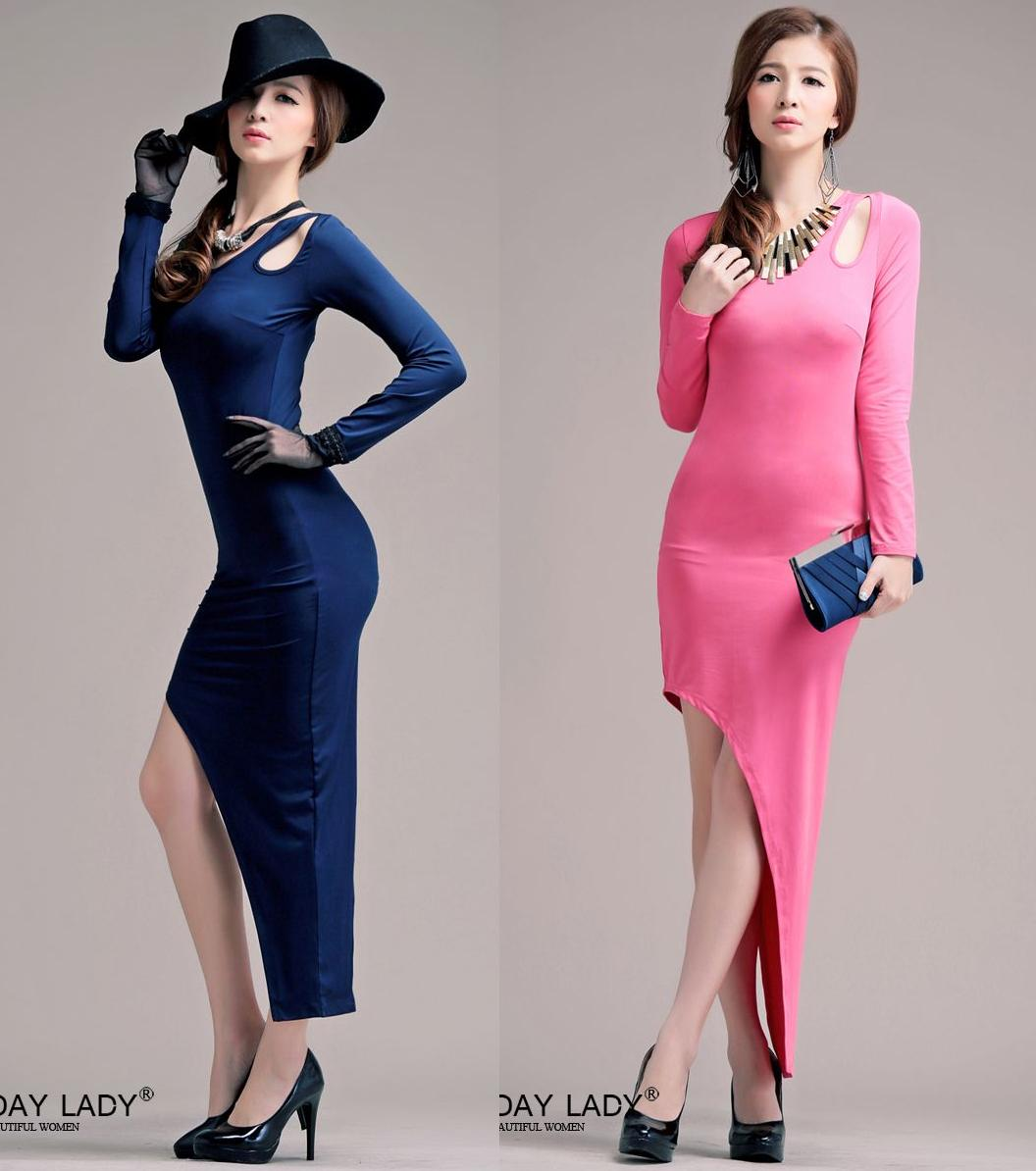 天使嫁衣【HLWM8002】2色中大尺碼水晶棉純色斜裙擺長洋裝禮服˙預購訂製款