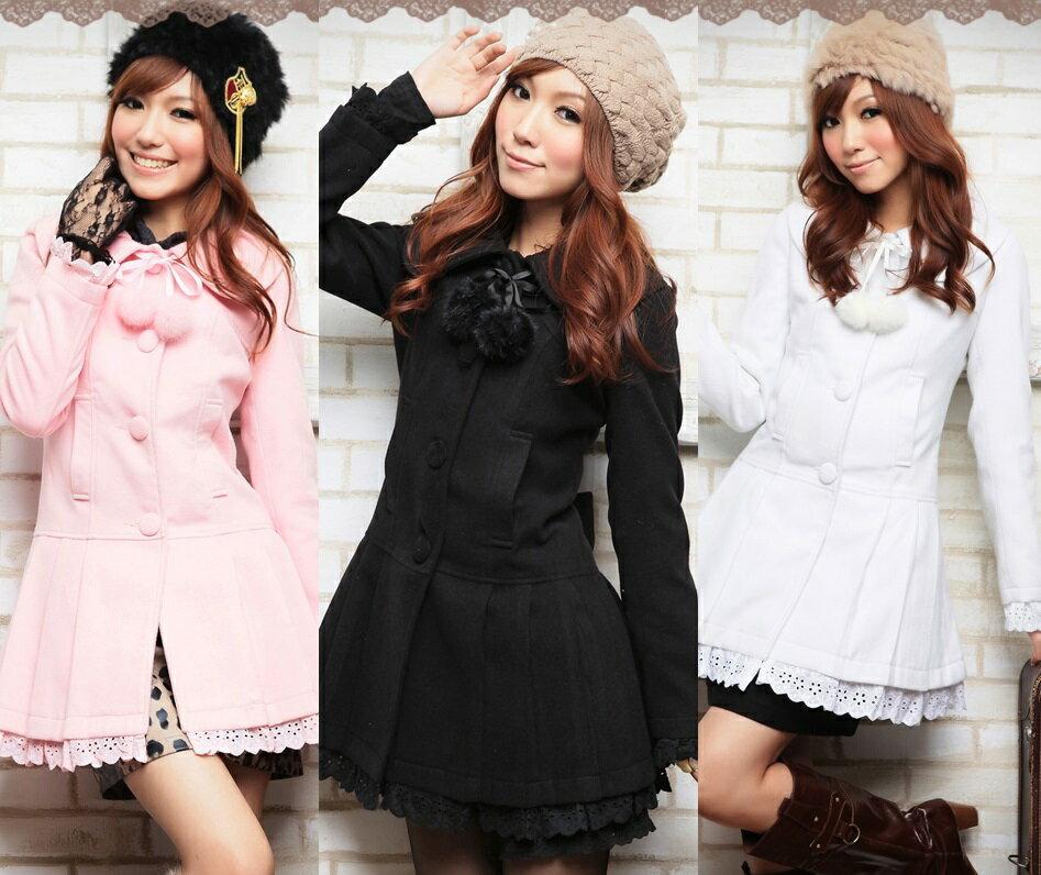 天使嫁衣【HL8888】3色粉領芭比長大衣外套˙預購