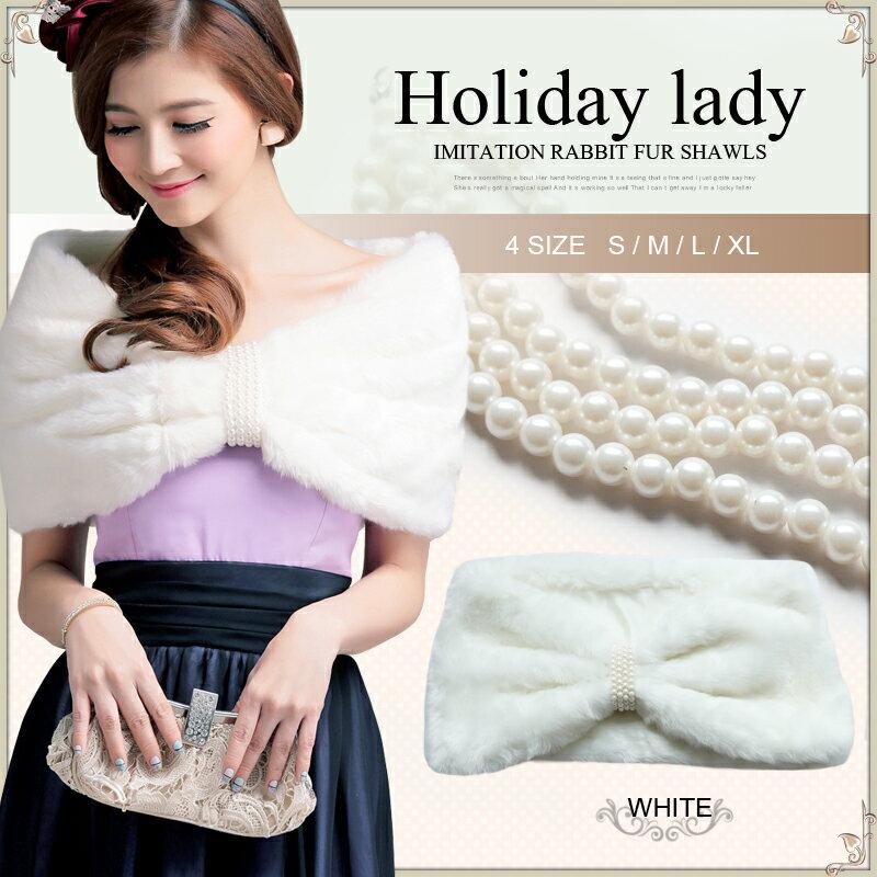 天使嫁衣【HL2353】雙層仿兔毛包肩加厚珍珠裝飾毛披肩˙下架