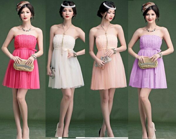 天使嫁衣【HL2363】4色中大尺碼小玫瑰蕾絲花綢緞洋裝小禮服˙預購訂製款