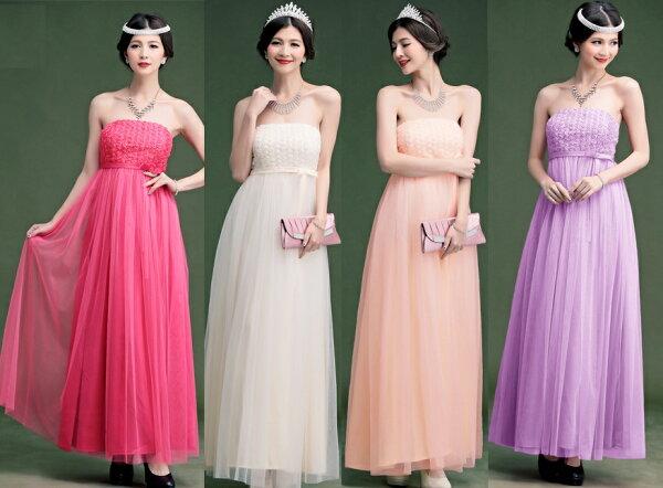 天使嫁衣【HL2365】3色中大尺碼小玫瑰蕾絲花長洋裝禮服˙預購訂製款+現貨