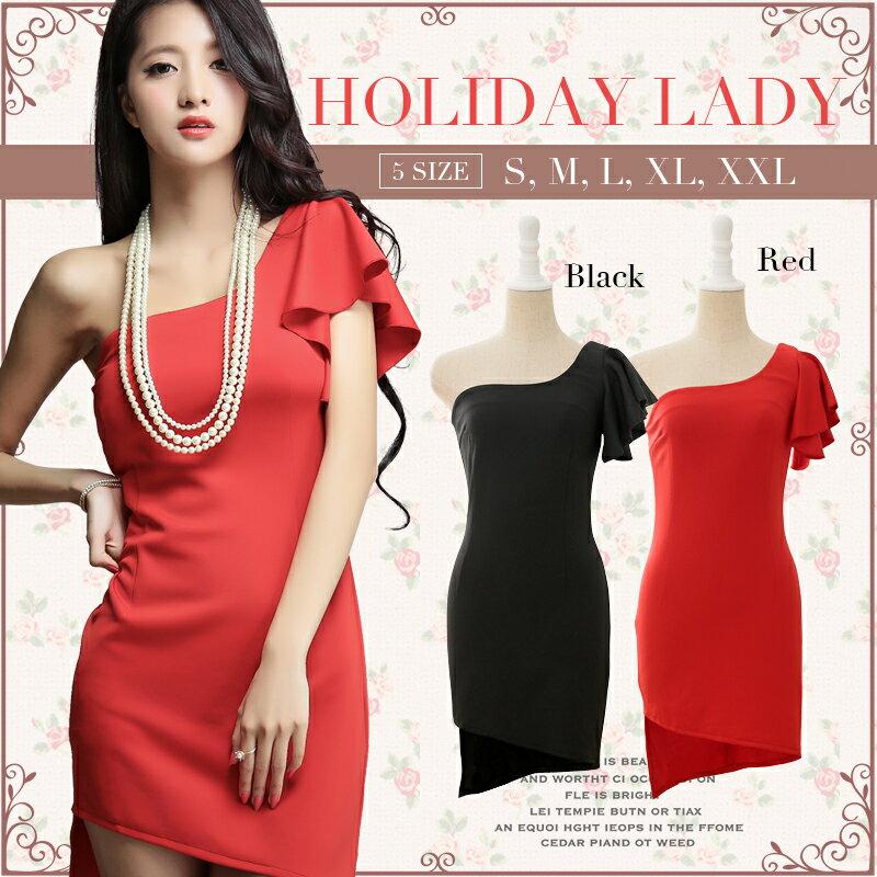 天使嫁衣~HL6669~紅色中大 不規則裙擺單肩顯瘦派對洋裝小禮服˙ 訂製款